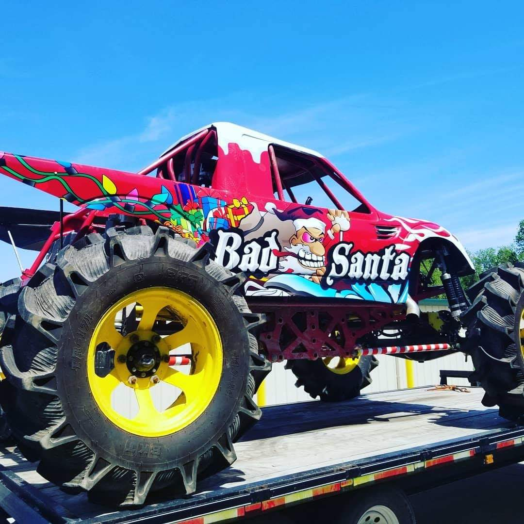 Bad Santa mud truck wrap